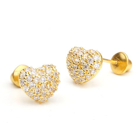 14k Gold Plated Brass Domed Heart CZ Screwback Girls Earrings Silver Post
