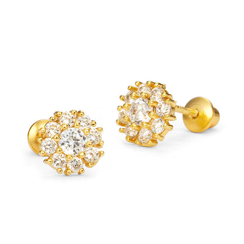 14k Gold Plated Brass Flower CZ Screwback Baby Girls Earrings Silver Post