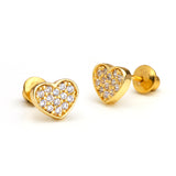 14k Gold Plated Brass Pave Heart Screwback Girls Earrings with Sterling Silver Post