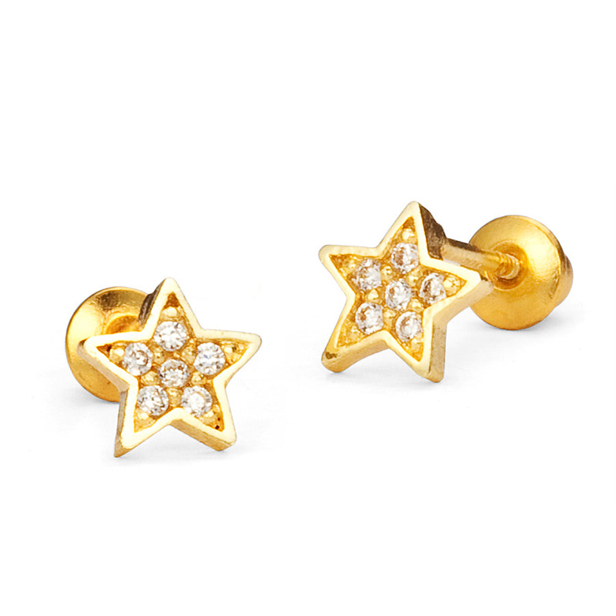 14k Gold Plated Brass Star CZ Screwback Baby Girls Earrings Sterling Silver Post