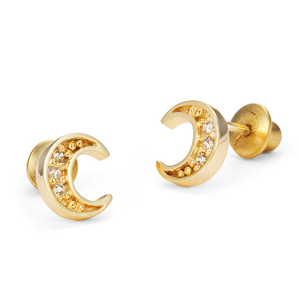 14k Gold Plated Brass Moon Cubic Zirconia Screwback Baby Girls Earrings with Sterling Silver Post