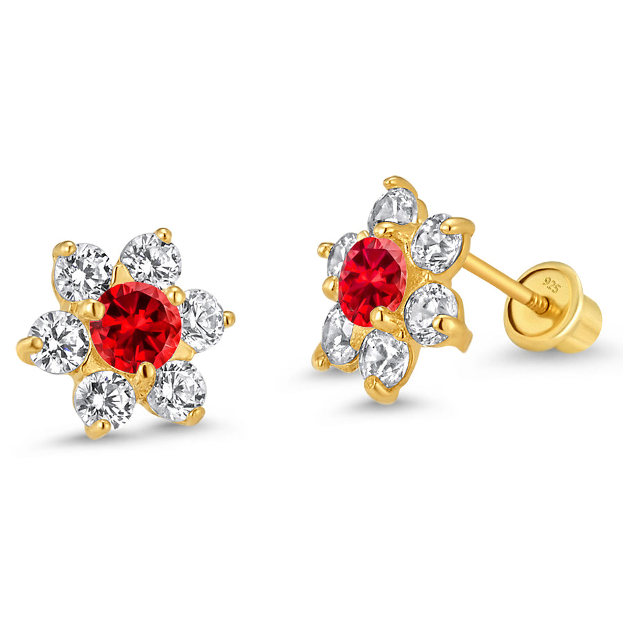 14k Gold Plated Brass Flower CZ Baby Girl Screwback Earring Sterling Silver Post