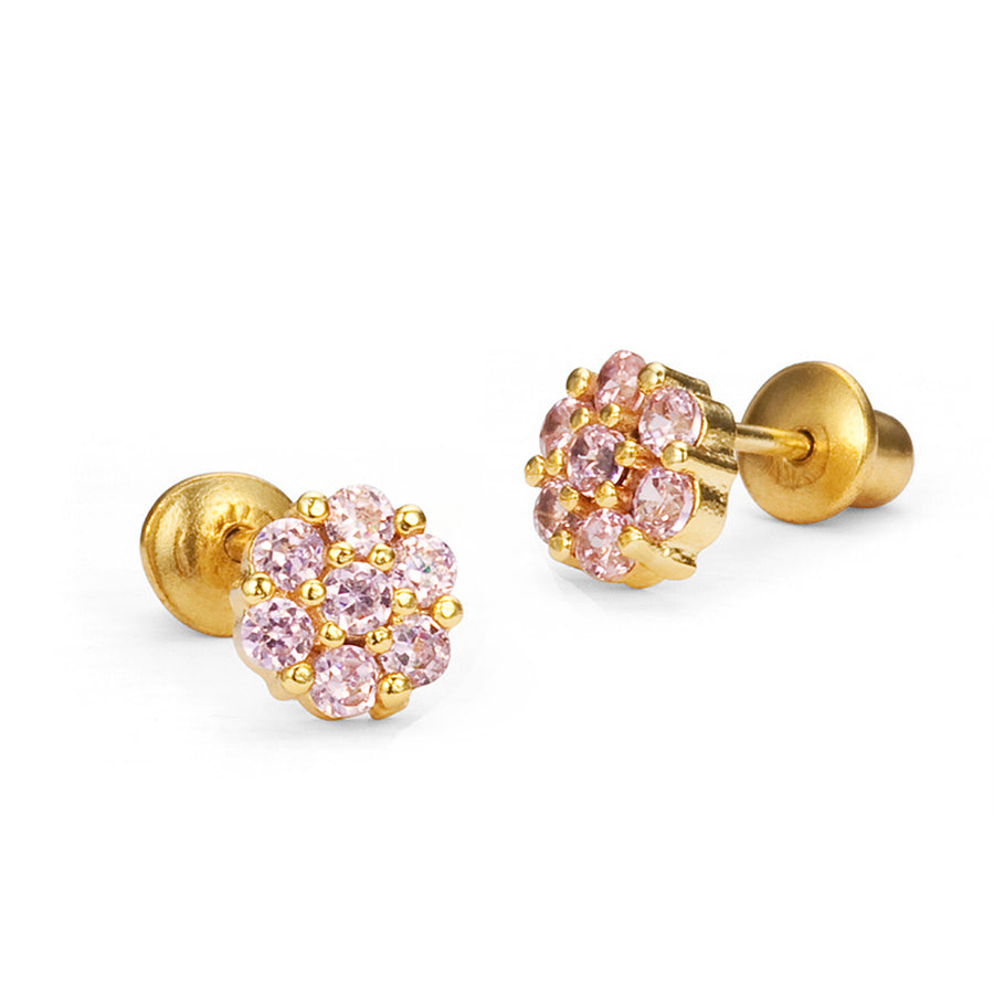 14k Gold Plated Brass Flower CZ Baby Girl Screwback Earring with Silver Post