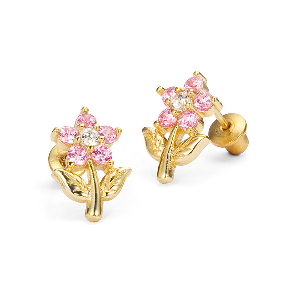 14k Gold Plated Brass Pink Flower CZ Screwback Girl Earring Sterling Silver Post
