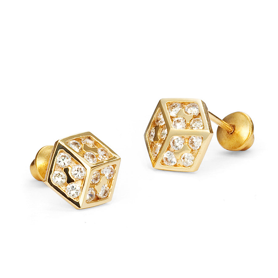 14k Gold Plated Brass Dice CZ Screwback Baby Girls Earrings Sterling Silver Post