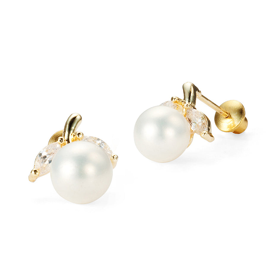 14k Gold Plated Brass Simulated Pearl Screwback Baby Girls Earrings Silver Post