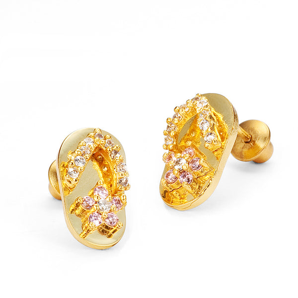 14k Gold Plated Brass Pink Sandle Cubic Zirconia Screwback Girls Earrings with Sterling Silver Post