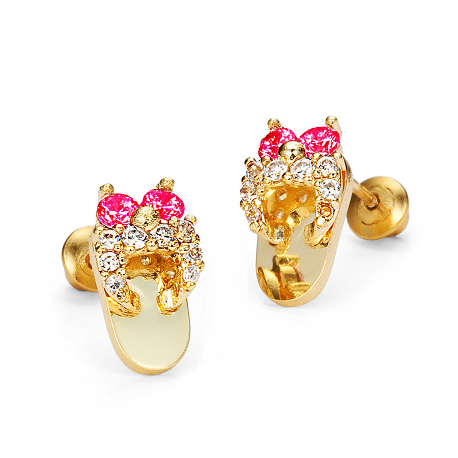 14k Gold Plated Brass Red Sandle CZ Screwback Girl Earrings Sterling Silver Post