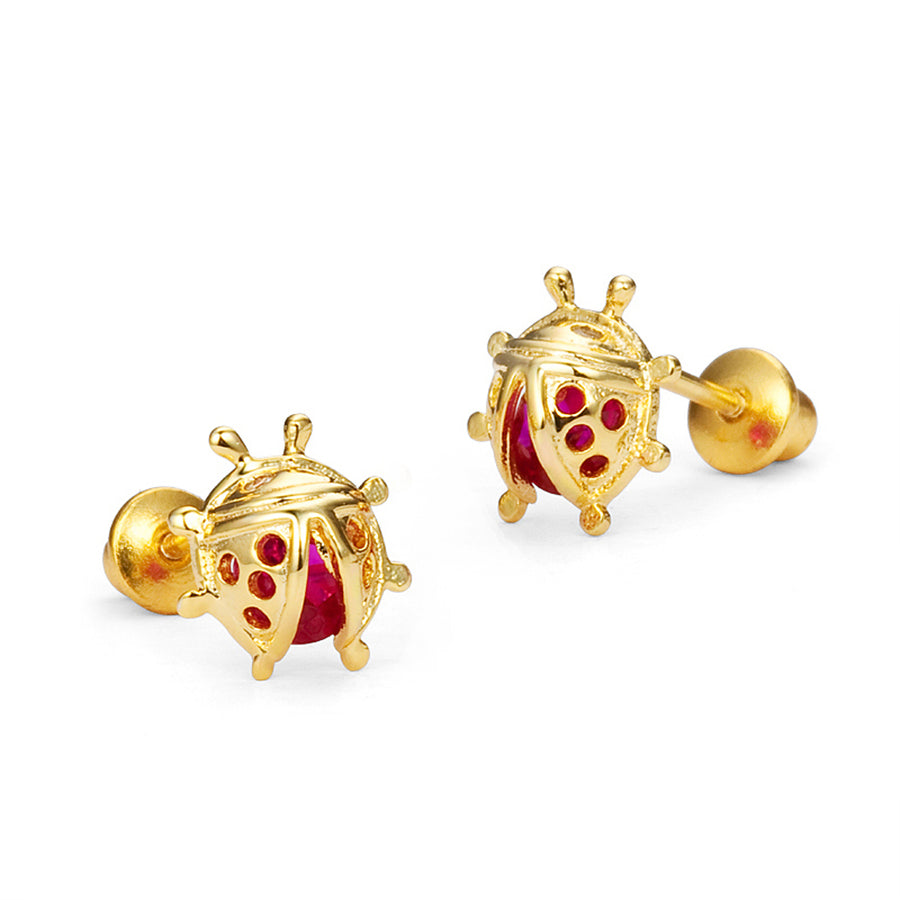 14k Gold Plated Brass Lady Bug CZ Screwback Girls Earrings Sterling Silver Post