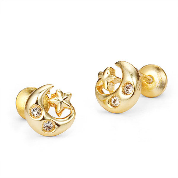 0942e1810 14k Gold Plated Brass Moon Star Cubic Zirconia Screwback Girls Earrings  with Sterling Silver Post
