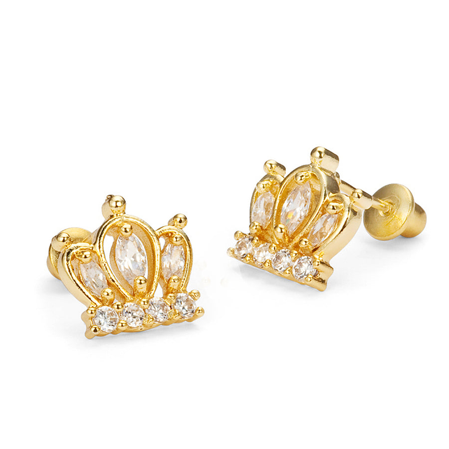 14k Gold Plated Brass Crown CZ Screwback Baby Girl Earrings Sterling Silver Post
