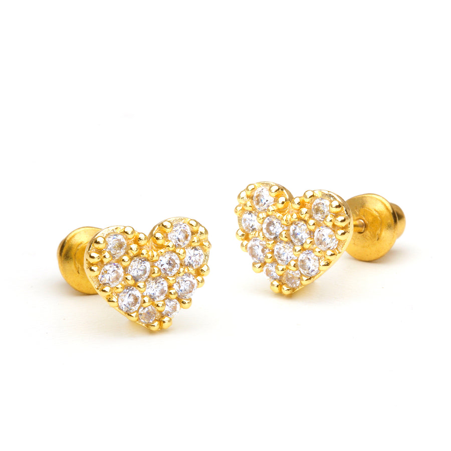 14k Gold Plated Brass Heart CZ Screwback Baby Girl Earrings Sterling Silver Post