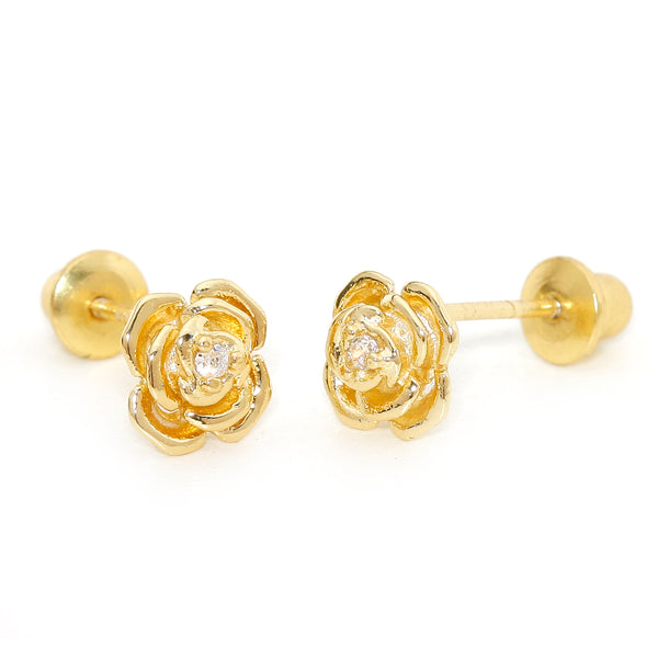 f5ee65652 14k Gold Plated Brass Rose Cubic Zirconia Screwback Baby Girls Earrings  with Sterling Silver Post