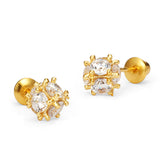 14k Gold Plated Brass CZ Disco Ball Screwback Girls Earrings with Sterling Silver Post