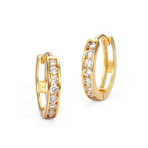 14k Gold Plated Brass Channel CZ Huggie Baby Girls Earrings