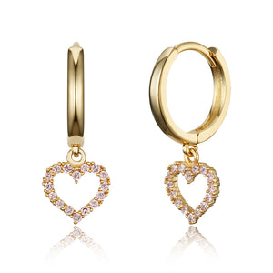 14k Gold Plated Brass Pink Heart Plain Huggy Baby Girls Hoop Earrings