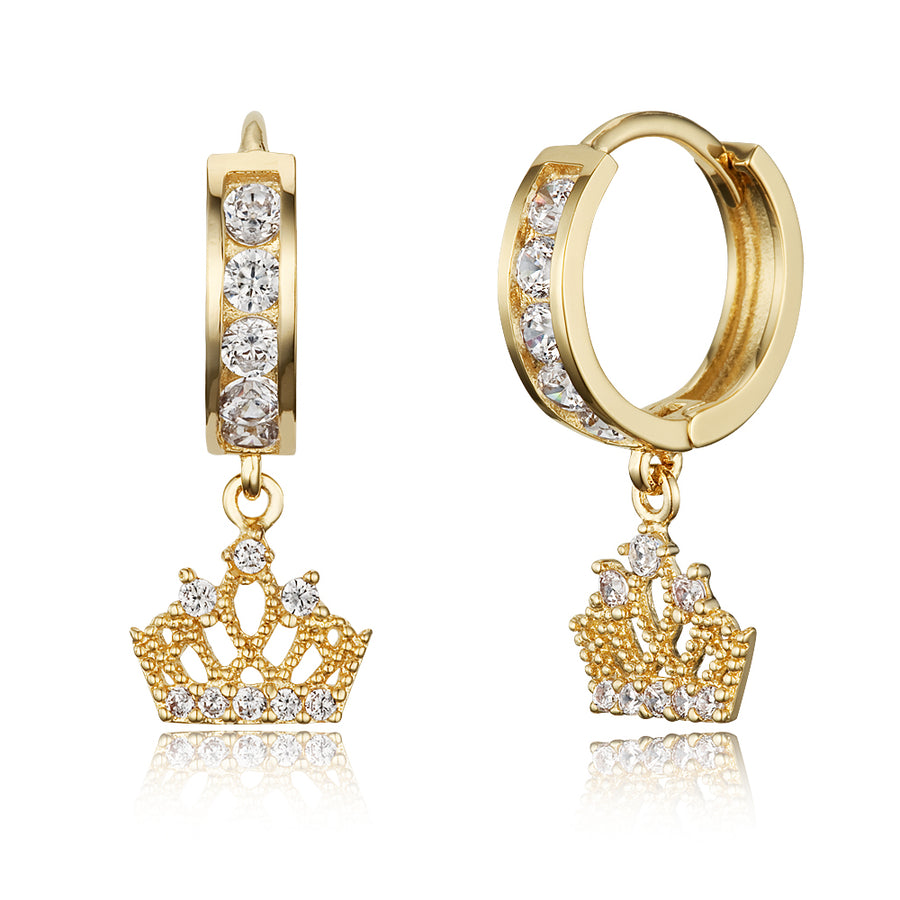 14k Gold Plated Brass Princess Crown Channel Cz Huggy Baby Girls Hoop Earrings