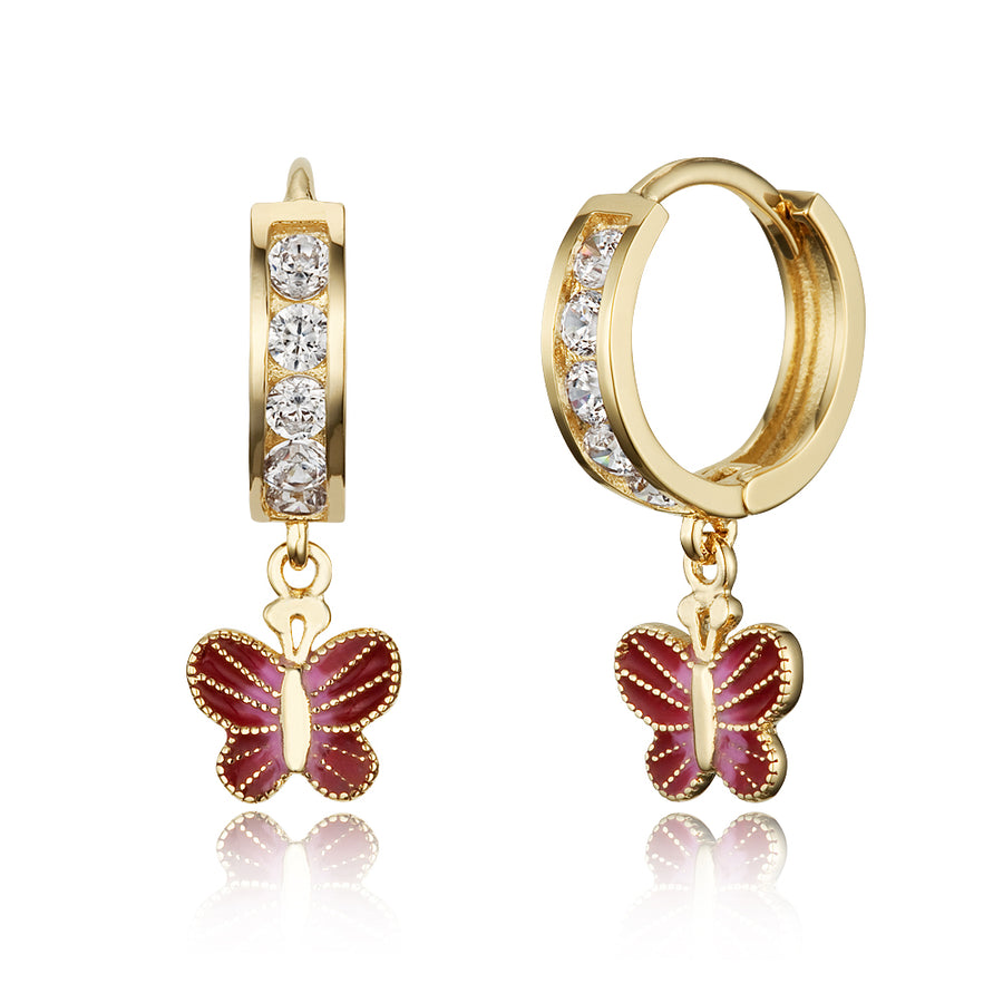 14k Gold Plated Brass Butterfly Channel CZ Huggy Baby Girls Hoop Earrings