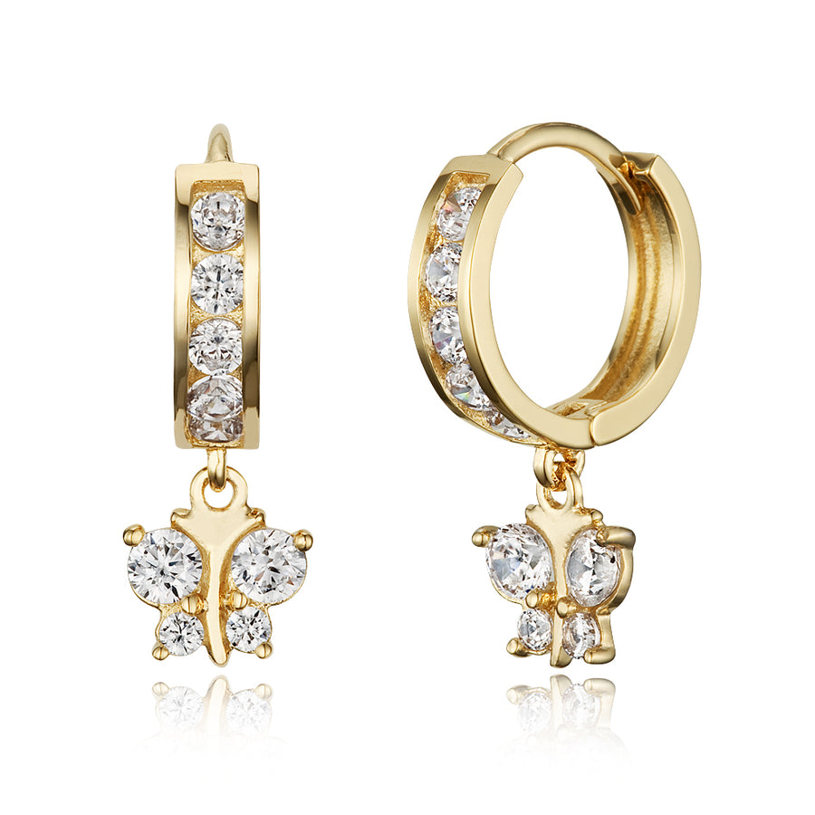 14k Gold Plated Brass Butterfly Channel CZ Huggie Baby Girls Hoop Earrings