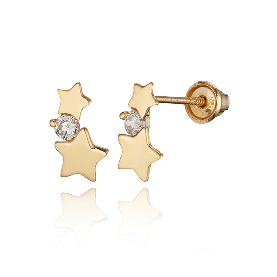 14k Yellow Gold Star Children CZ Screwback Baby Girls Earrings
