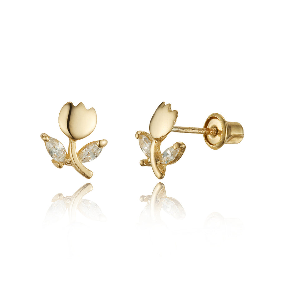 14k Yellow Gold Tulip Flower CZ Children Screwback Baby Girls Stud Earrings