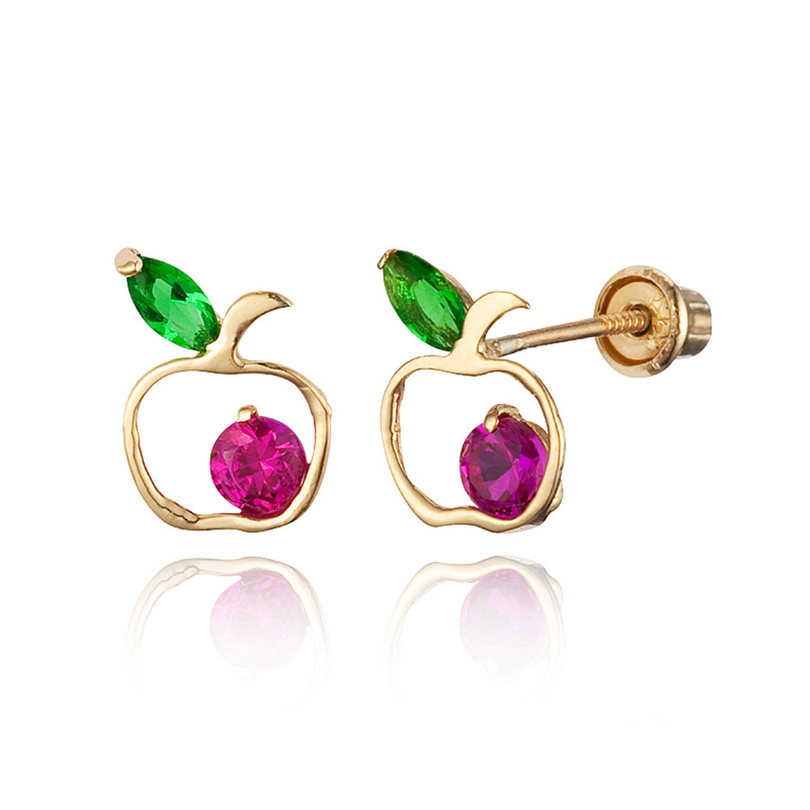14k Yellow Gold Apple CZ Children Screwback Baby Girls Earrings