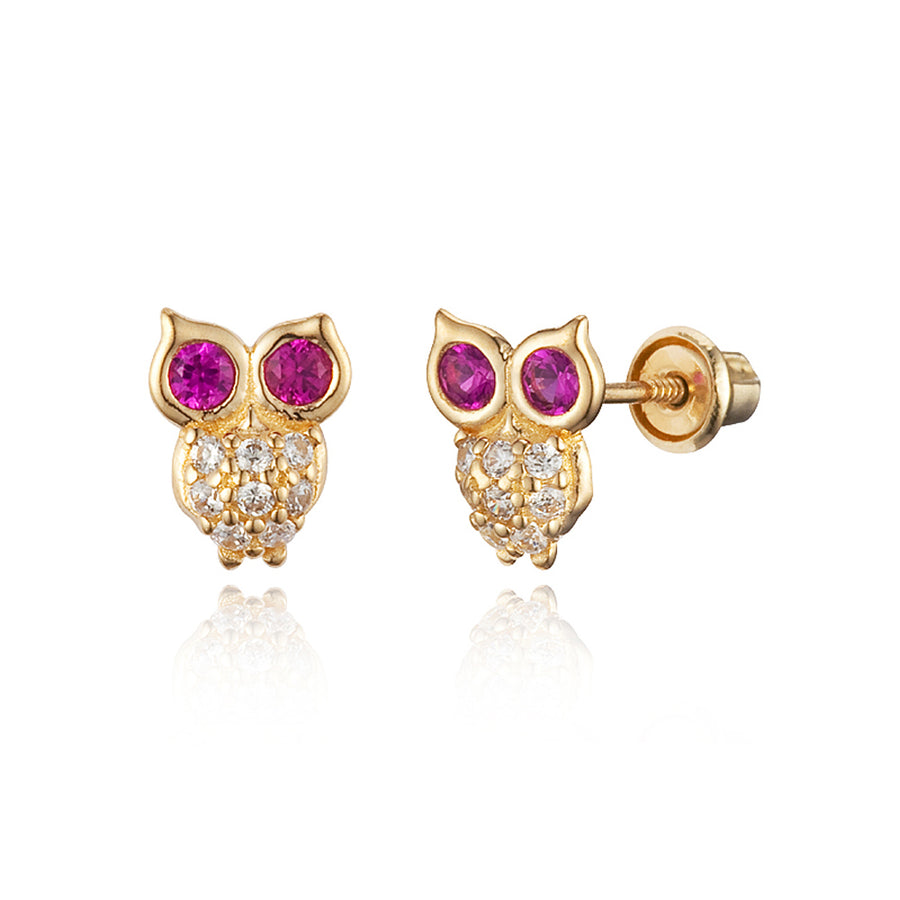 14k Yellow Gold Owl CZ Children Screwback Baby Girls Stud Earrings