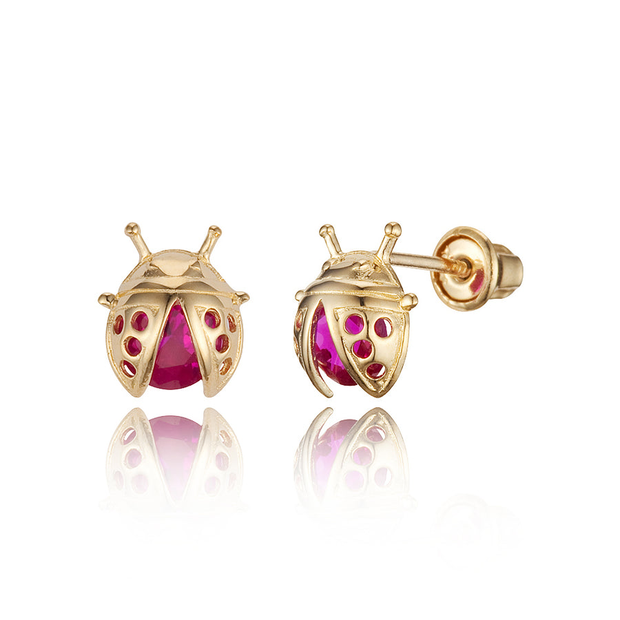 14k Yellow Gold Lady Bug CZ Children Screwback Baby Girls Stud Earrings