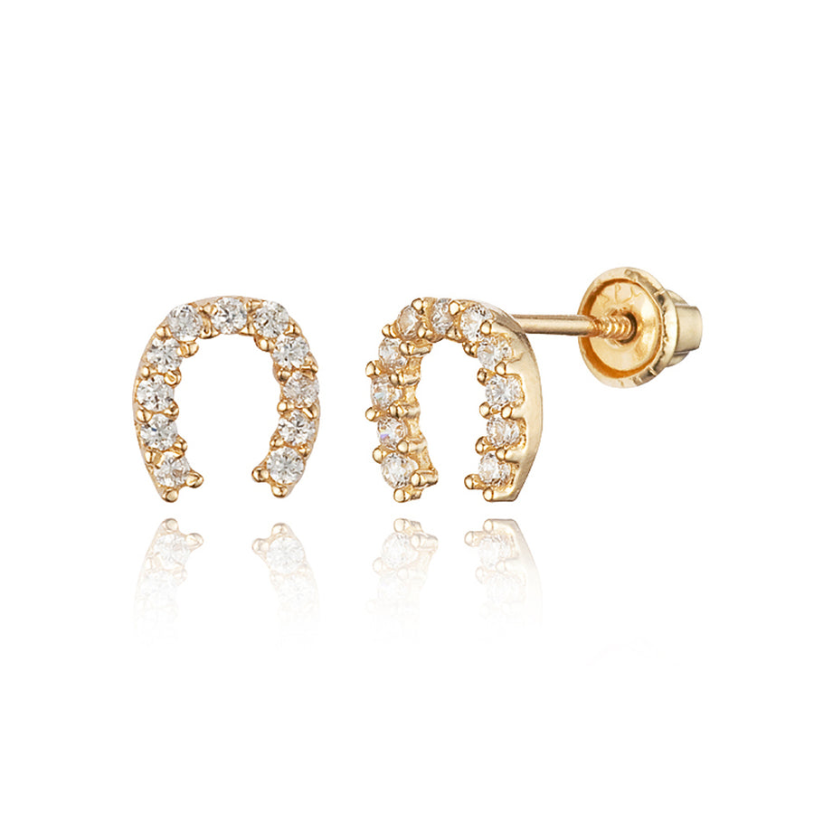 14k Yellow Gold Horseshoe CZ Children Screwback Baby Girls Earrings