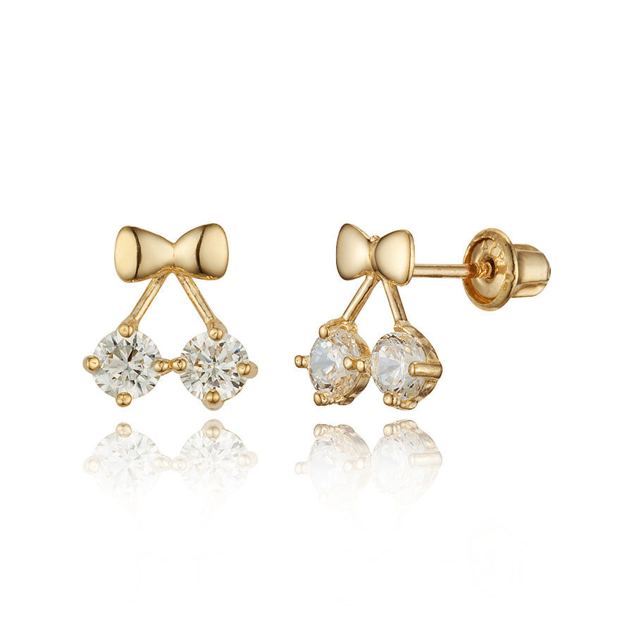 14k Yellow Gold Cherry CZ Children Screwback Baby Girls Stud Earrings