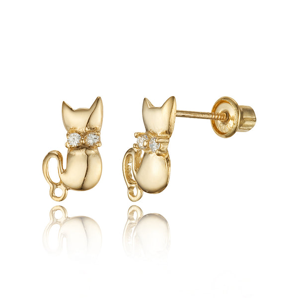 14k Yellow Gold Cat Cubic Zirconia Children Screwback Baby Girls Stud Earrings