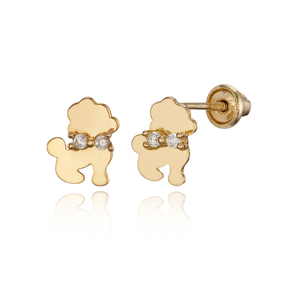 14k Yellow Gold Poodle Cubic Zirconia Children Screwback Baby Girls Earrings