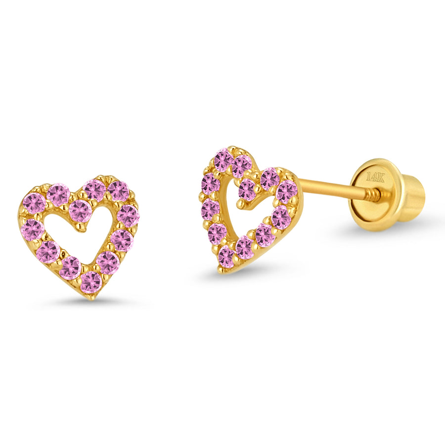 14k Yellow Gold Open Heart CZ Children Screwback Baby Girls Earrings