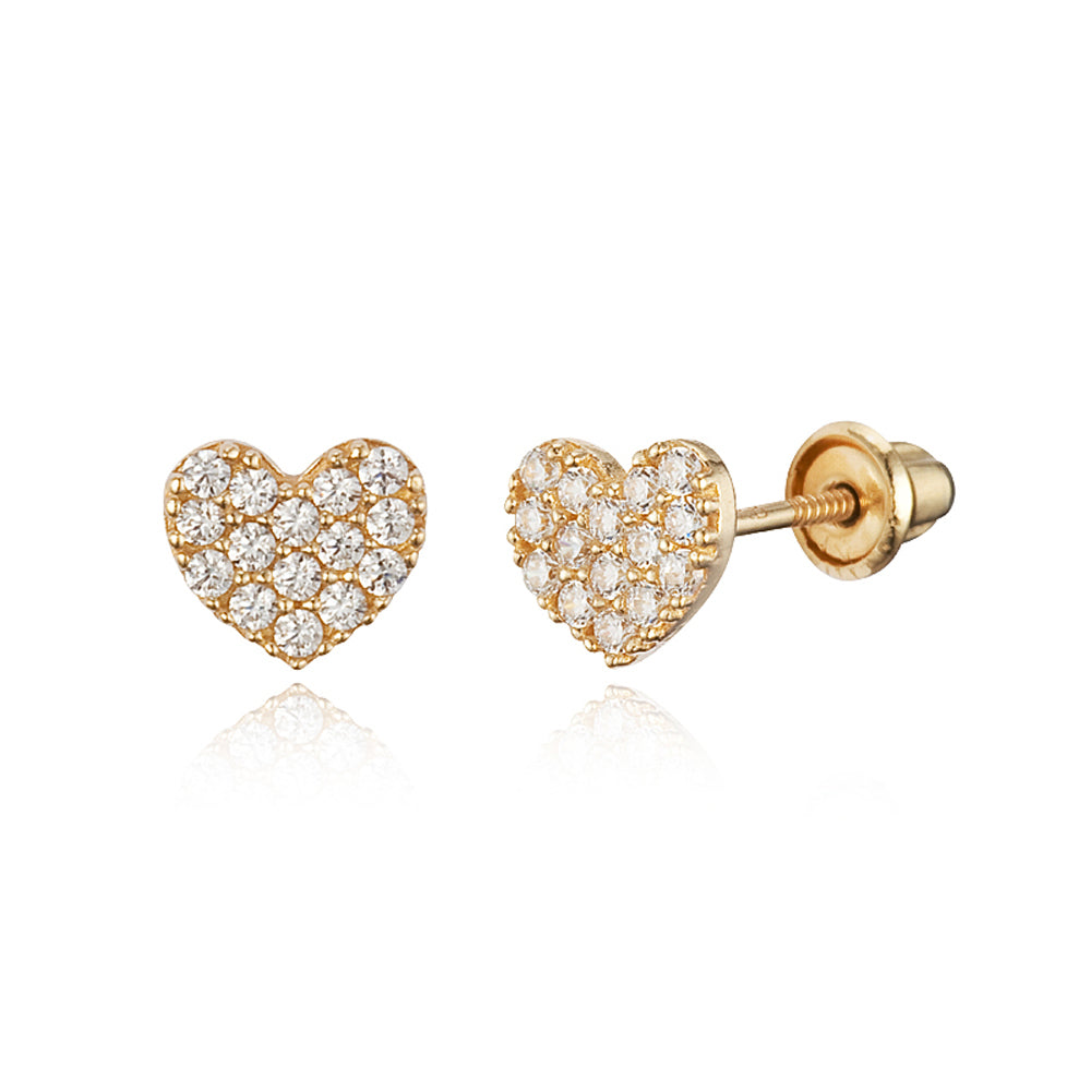 6f0d8f87cab64 14k Yellow Gold Pave Heart CZ Children Screwback Baby Girls Earrings