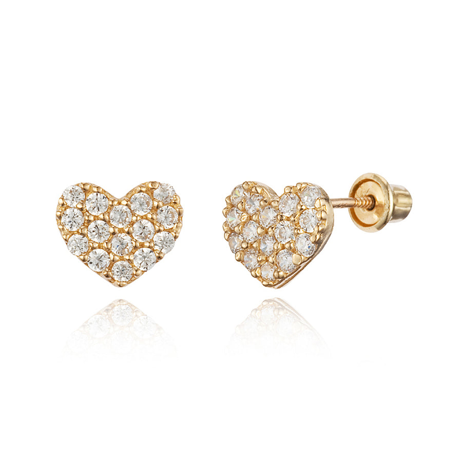 14k Yellow Gold Pave Heart CZ Children Screwback Baby Girls Earrings