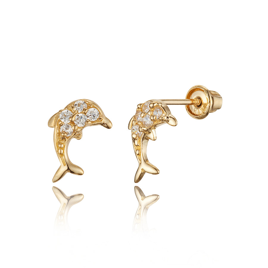 14k Yellow Gold Dolphin CZ Children Screwback Baby Girls Stud Earrings