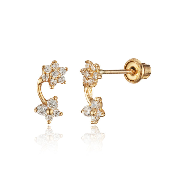 14k Yellow Gold Flower Butterfly Cubic Zirconia Stud Children Screwback Baby Girls Stud Earrings