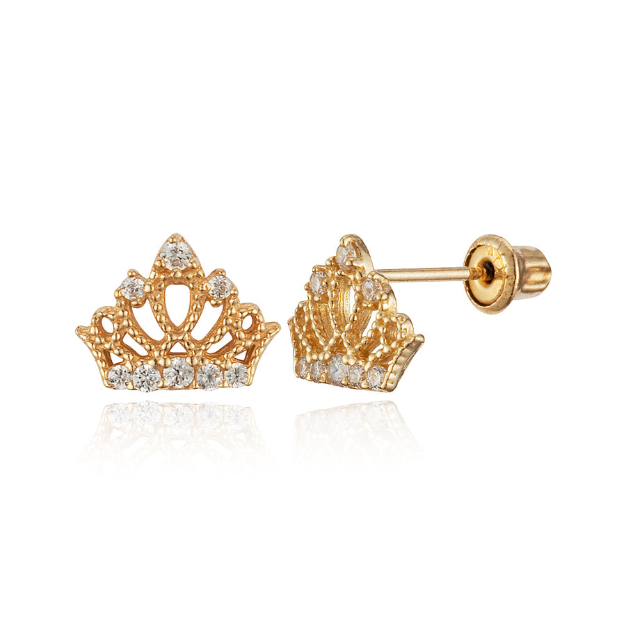 14k Yellow Gold Princess Crown CZ Children Screwback Baby Girls Stud Earrings
