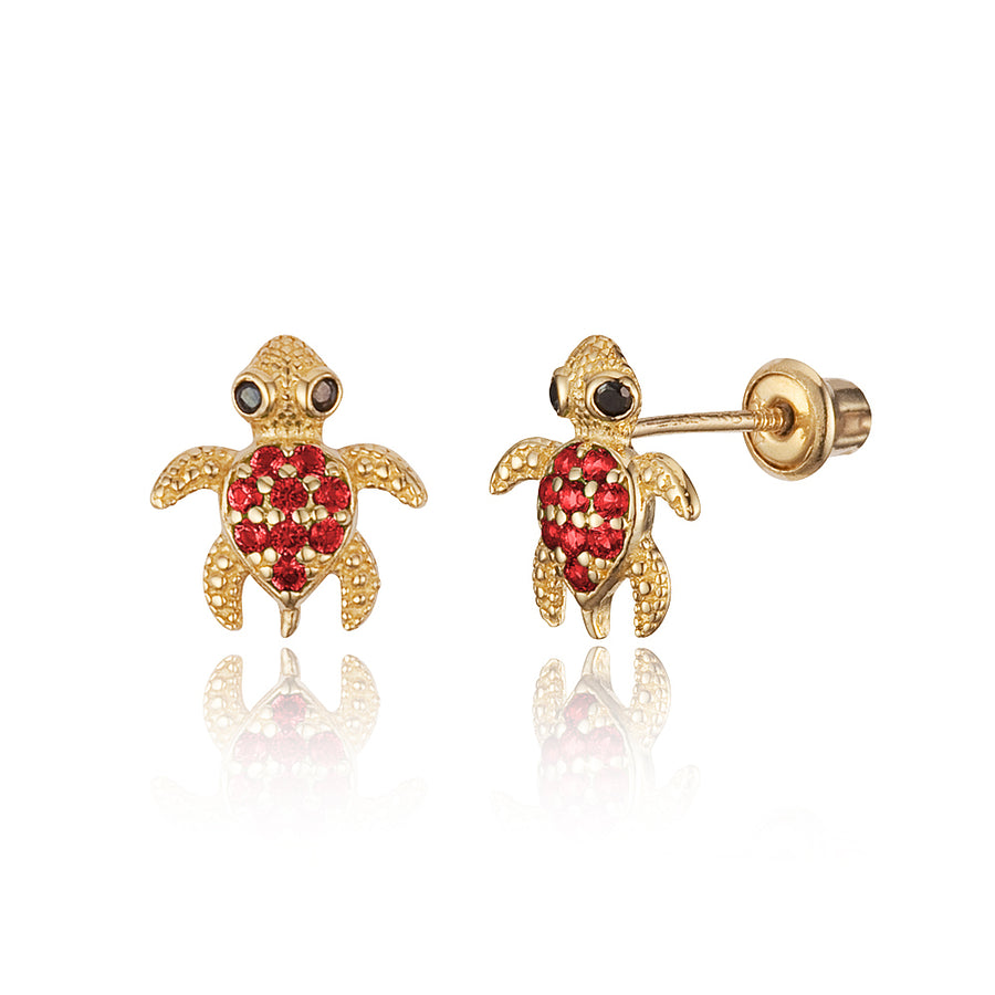 14k Yellow Gold Turtle CZ Children Screwback Baby Girls Stud Earrings