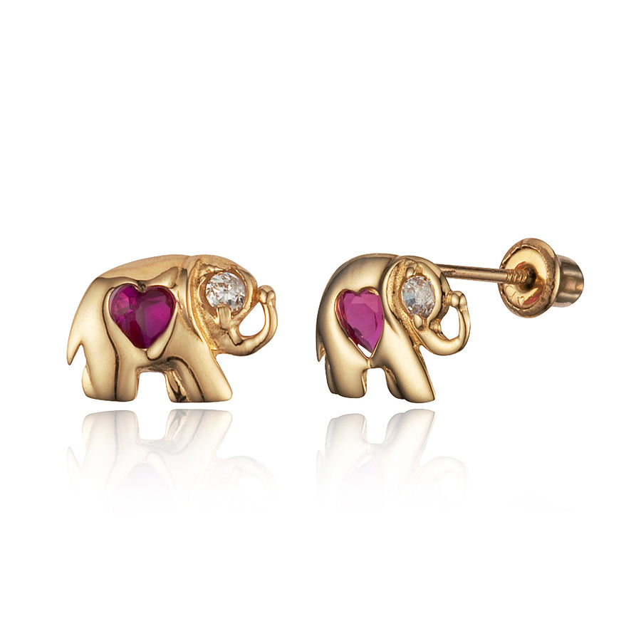 14k Yellow Gold Elephant CZ Children Screwback Baby Girls Stud Earrings