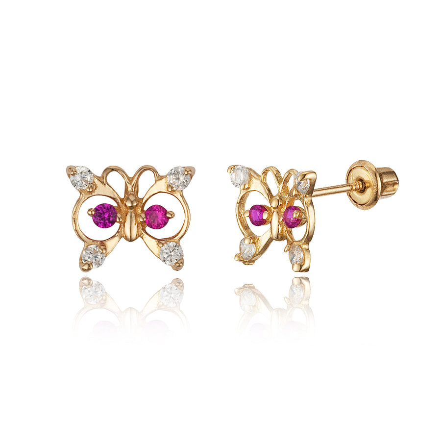 14k Yellow Gold Butterfly CZ Children Screwback Baby Girls Stud Earrings