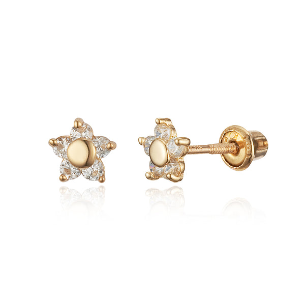14k Yellow Gold Flower Cubic Zirconia Children Screwback Baby Girls Stud Earrings