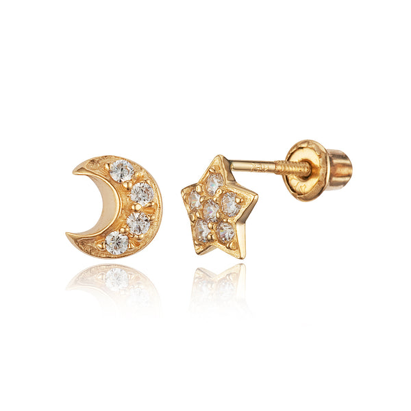 14k Yellow Gold Moon Star Cubic Zirconia Children Screwback Baby Girls Stud Earrings