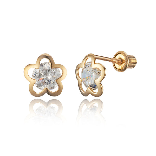 14k Yellow Gold Flower Star Cubic Zirconia Children Screwback Baby Girls Stud Earrings