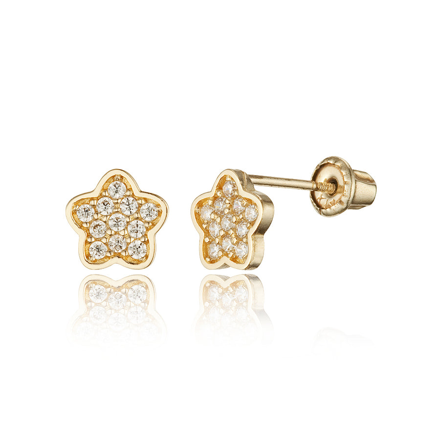 14k Yellow Gold Star Flower CZ Children Screwback Baby Girls Earrings