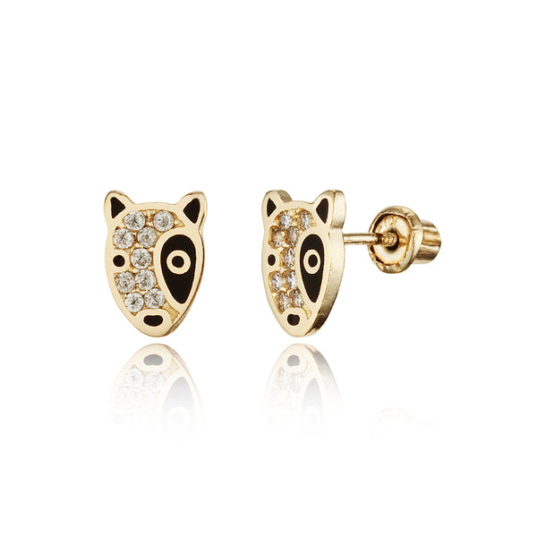 14k Yellow Gold Puppy Dog Cubic Zirconia Children Screwback Baby Girls Earrings
