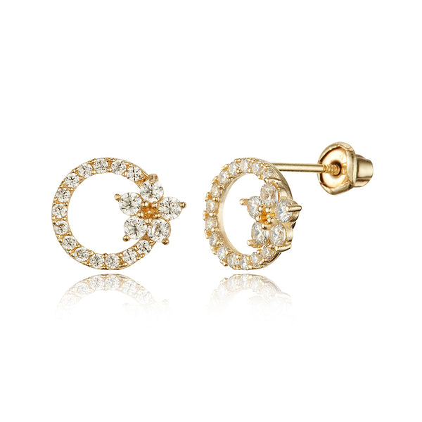 14k Yellow Gold Flower Cubic Zirconia Children Screwback Baby Girls Earrings
