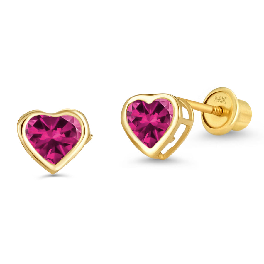 14k Yellow Gold Purple Heart Bezel CZ Children Screwback Baby Girls Earrings