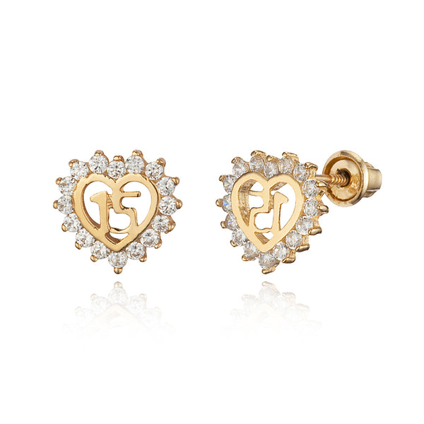 14k Yellow Gold Quinceanera Cubic Zirconia Children Screwback Baby Girls Earrings