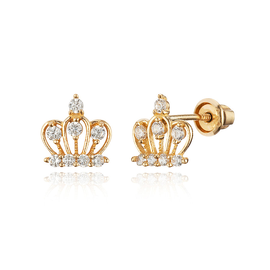 14k Yellow Gold Crown CZ Children Screwback Baby Girls Earrings